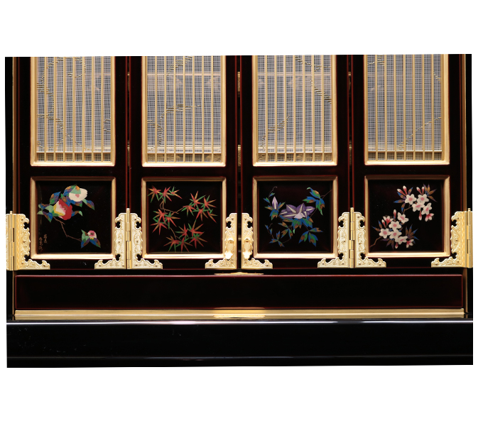 準輪島塗仏壇−四枚蒔絵
