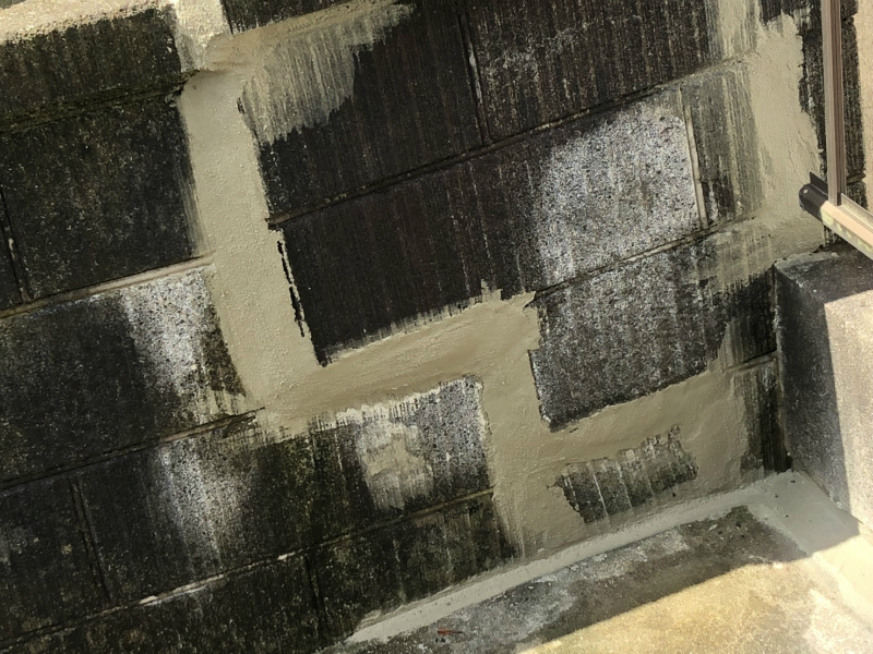 ブロック塀の亀裂補修